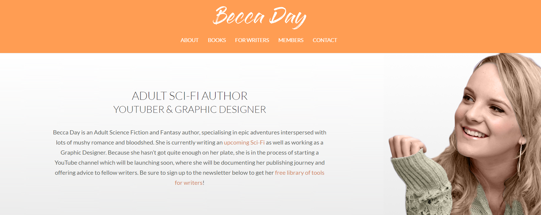 example of an author website header