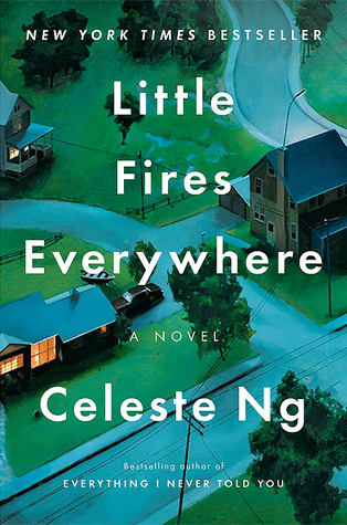 Little Fires Everywhere by Celeste Ng book cover which shows some houses with winding roads and grass going between them