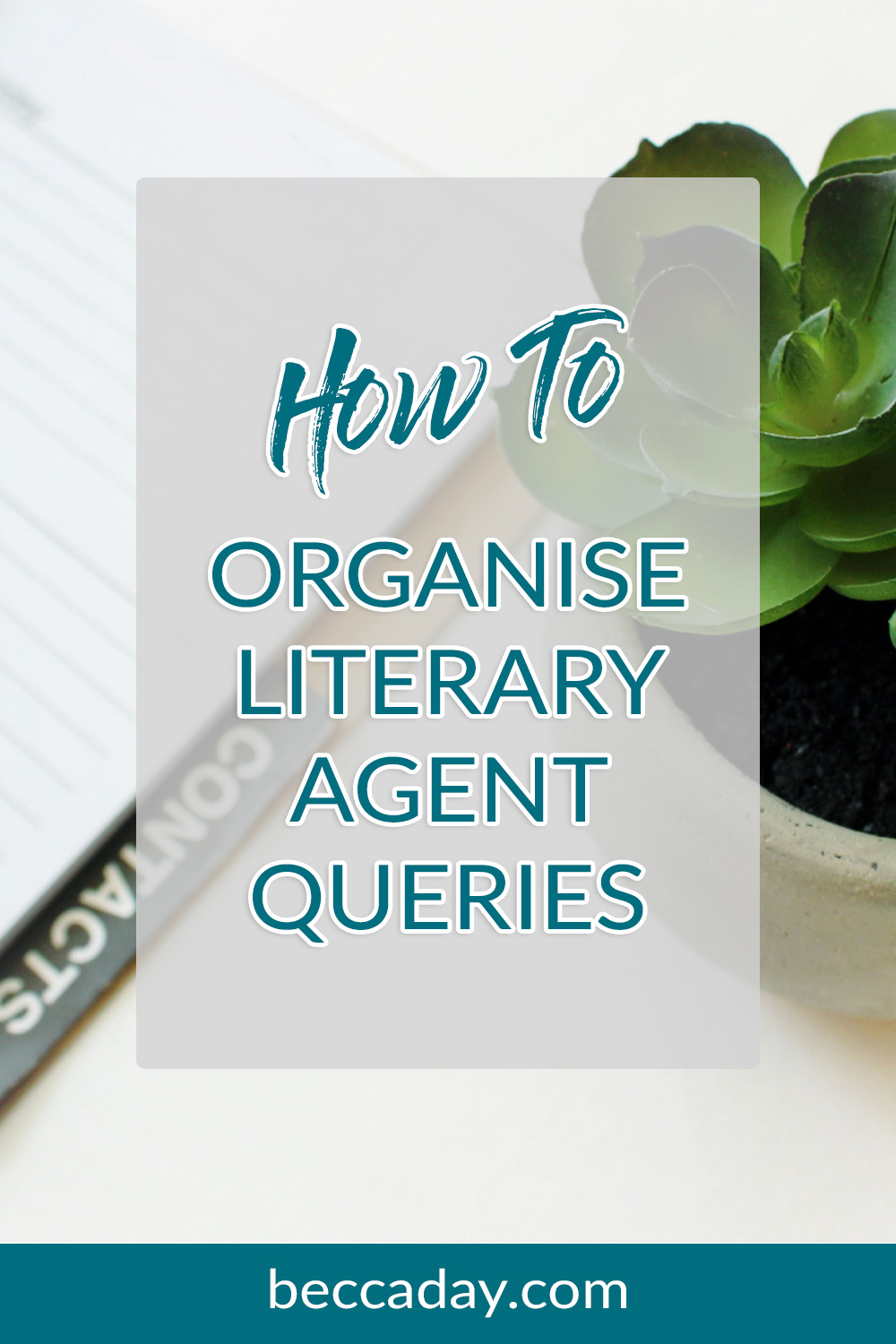 Blue text that reads 'how to organise literary agent queries' on a grey transparent background atop a picture of a planner and a succulant